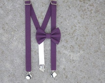 Baby or Toddler Suspender and Bow-Tie Set-Size 3-18 months or 2T to 4T-Eggplant solid set-baby suspender and bow tie