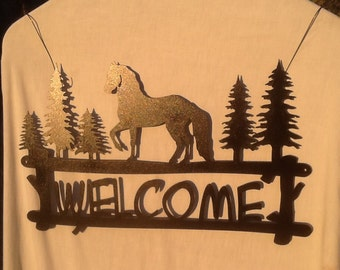 Horse Welcome / Pine Bough Welcome Sign Series