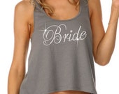 Loose Fitting Two-Level Bridal Party Tank Tops - Junior Sheer Hi-Lo Tank Top with Bridal Party Rhinestones