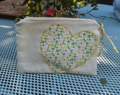 Organic Cotton Heart Applique Zipper Pouch