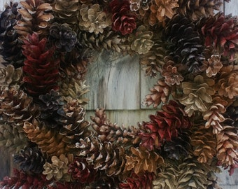 Pinecone Wreath Natural Browns and Barn red - Holiday Wreath, Christmas Wreath