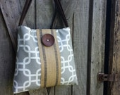 Handbag Tote with Grey and White Twill and Jute Webbing with Chocolate Brown Button