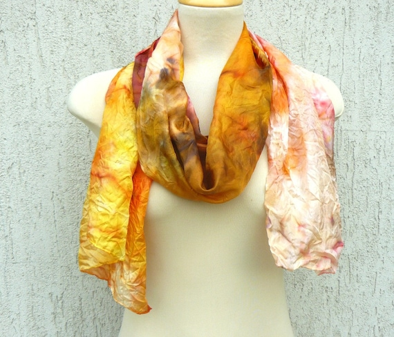 Autumn silk scarf. Ombre scarf. Hand painted scarf. Long scarf