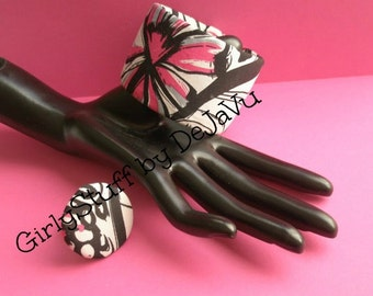 SALE-80's Recycled Vintage Fabric Bangle Bracelet & Ring Set, silver plated adjustable base, black/white/fuschia, OOAK, made in Greece