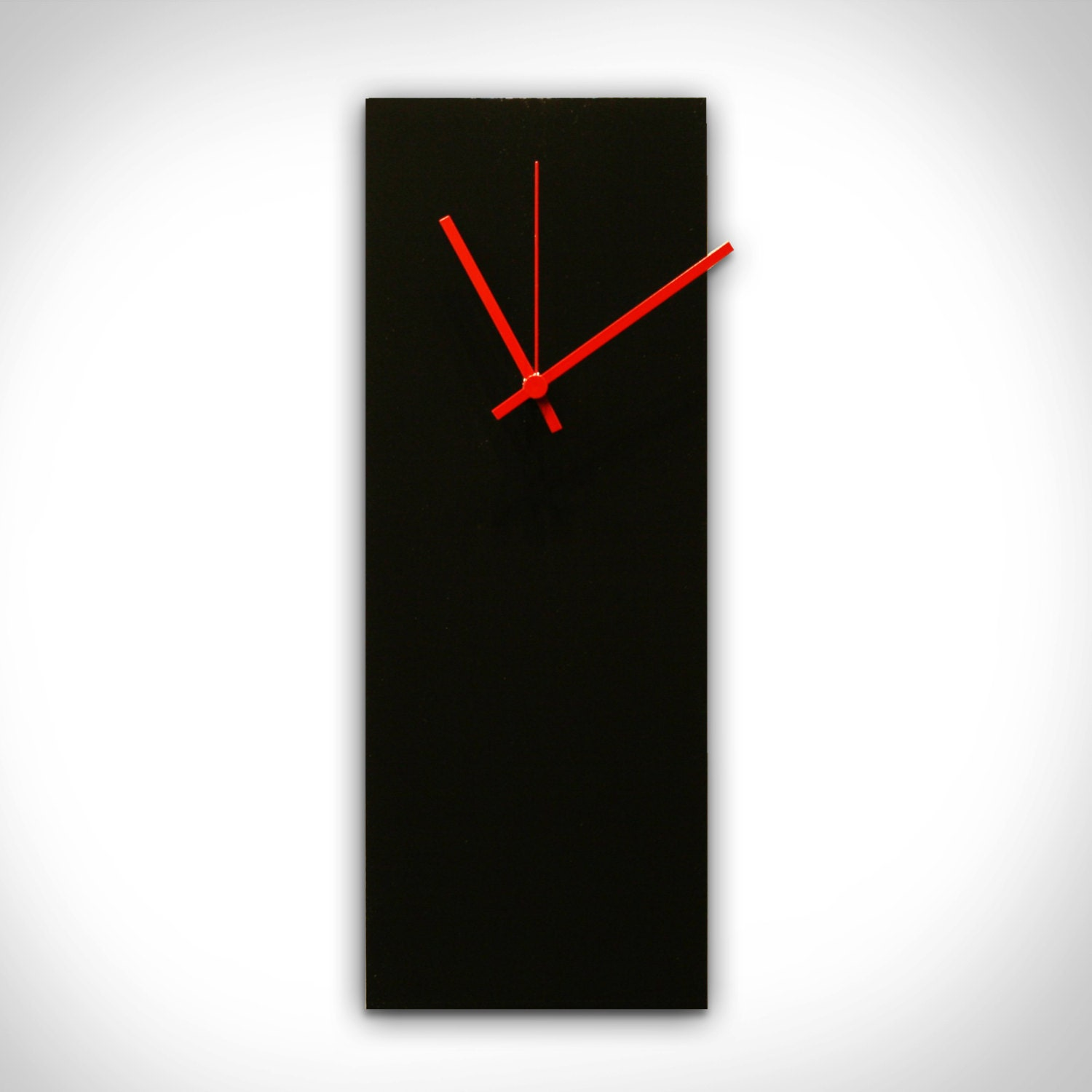 Modern Wall Clock 'blackout Red Clock'6x16midcentury 🔎zoom