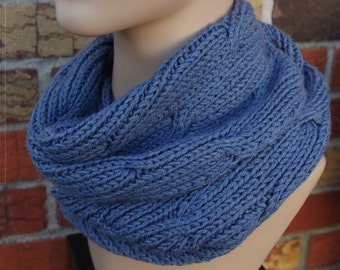 100% Italian Merino Wool, Blue, Soft Cable Hand Knit , Warm Cowl
