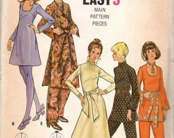 Easy 1970s Women's Dress, Tunic & Pants Pattern - Size 18, Bust 40 - Butterick 5993 uncut