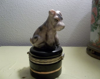 Retro Terrier Dog on Trinket Box