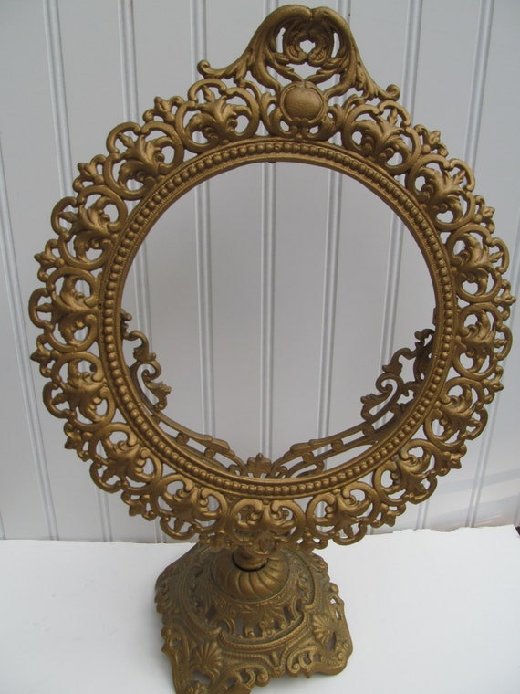 Antique Gilt Brass Pedestal Frame Vanity Mirror By Mumscottage