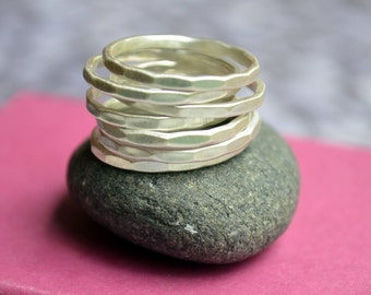 Stackable Hammered Sterling Silver Ring