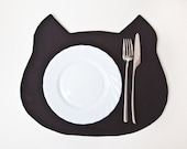 Placemat, Black Cat, Black Placemats, Kitchen Decor, Fabric placemat
