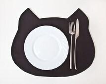 Placemat, Black Cat, Black Placemats, Kitchen Decor, Fabric placemat