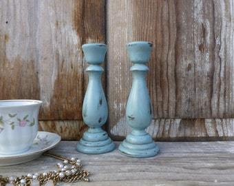 Wooden Candlesticks Painted Robin's Egg Blue