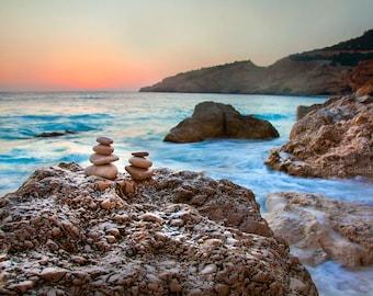 Beach decor sea sunset landscape, large photo print of a sunset over sea, foamy water, boulders, paradise island, Greece