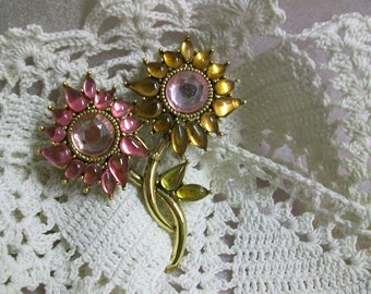 Flower Brooch in Pink and Yellow Rhinestones  2 x 2 inches