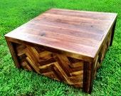 Reclaimed Dark Walnut Coffee Table with a Chevron / Herringbone Design
