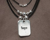 Necklace-Leather Jewelry-Charm Necklace-Leather Necklace-hope Charm-Silver Charms-Black Leather-Black and Silver-Beaded Leather Neclace