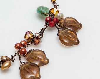 Brown Beaded Necklace, Brown Leaf Necklace with a Floral Design, Brown Nature Jewelry, Brown Vine Necklace