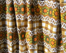 Vintage Floral Curtain, Vintage 1960s 1970s Cotton Curtain, Yellow, Oranges, Green and Brown Flowers Pattern on a Checks