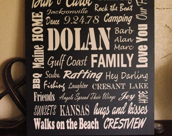 """Customized 20"""" x 24"""" Vinyl Fonts - Family Subway Art Sign typography wood sign"""