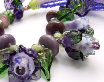 Lampwork Floral Necklace, Purple -Green Roses,  Delicate and Romantic Glass Necklace, Unique Gift