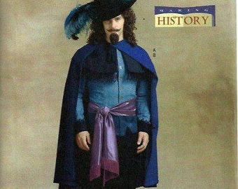 Men's Musketeer Costume Pattern, Butterick 4541, Making History, Cindy Chock, Size 34-36-38 UNCUT