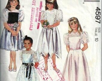 Girls Dress Pattern, Handkerchief Hem, Puff Sleeves, McCall's 4597, Size 10