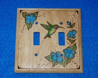 Hand Painted Light Switch Plates: Rustic Decorative Double Wood Light Switch Plate Cover Burned Hummingbird  Floral Carved Hand Painted Outlet Cover,Lighting