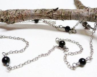 Black Onyx Necklace / Layering Necklace / Sterling Silver / SimplyJoli