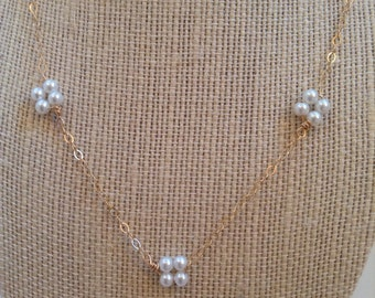 Delicate, Gold Pearl Necklace