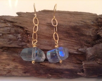 Gold, Dangling, Fluorite Earrings