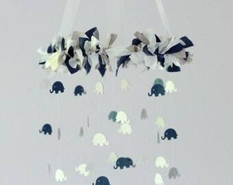 Blue Elephant Nursery Mobile- Navy Blue, Gray & White- Nursery Decor, Baby Shower Gift, Nursery Mobile