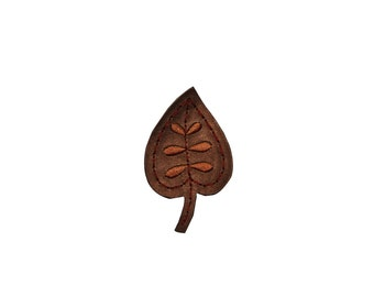 ID #7133 Brown Pleather Leather Leaf Flora Iron On Embroidered Patch Applique