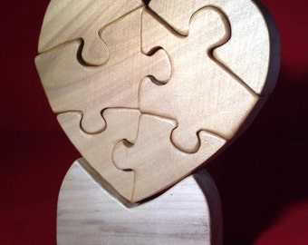 Heart Puzzle made of Wood for Your Valentine.