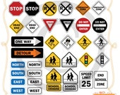 Road Signs CLIP ART - Use for Personal and Small Commercial Projects - Instant Download