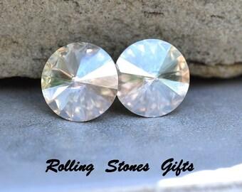 12mm Moonlight Rivoli Stud Earrings, Special Effects Crystal Earrings, Large Crystal Stud Earrings