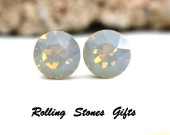 7.27mm Light Gray Opal Swarovski Studs Xirius Round Rhinestone Stud Earrings-Opal Swarovski Crystal Stud Earrings-Gray Opal Crystal Earrings