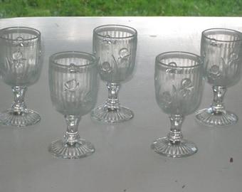 "Set of 5 Crystal IRIS AND HERRINGBONE 4 1/4"" Wine Goblets Jeannette Glass Co."
