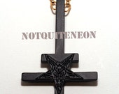 """Inverted cross necklace with 30"""" chain upside down cross MATT BLACK"""