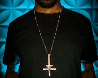 """ROSE GOLD plated inverted cross necklace  with silver plated 30"""" chain upside down cross"""