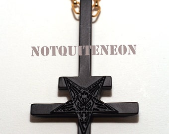 "Inverted cross necklace with 30"" chain upside down cross MATT BLACK"