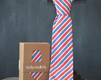 Red White and Blue Stripe Necktie for Boys