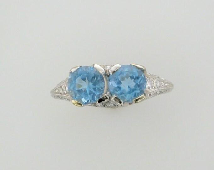 Platinum Aquamarine and Diamond Edwardian Ring