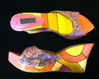 Emilio Pucci Wedges Painted Heel Shoes
