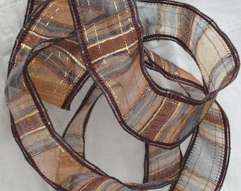 1 Yard French Wired Ribbon Trim - Brown, Grey, Gold Metallic - Vintage NOS Supplies