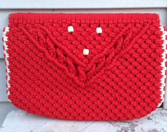 Vintage Macrame Clutch Red 70s 1970s Beaded Clutch