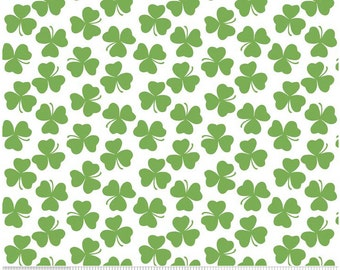 Holiday Clover White - Green Banner  -  Riley Blake Designs Fat Quarter Cut - Clover Fabric