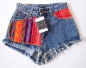 Frayed Aztec Denim Shorts