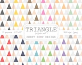 Digital Paper, Printable Scrapbook Paper Pack, 12x12, Triangle N01, Set of 12 Papers