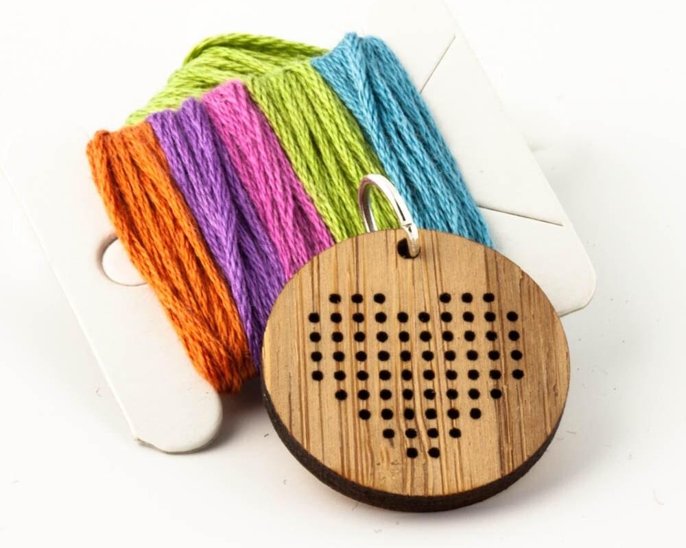 DIY Cross Stitch Pendant Wood Pendant Blank Small Heart